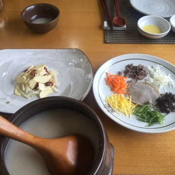 Cold dishes served as appetizer with Makguli