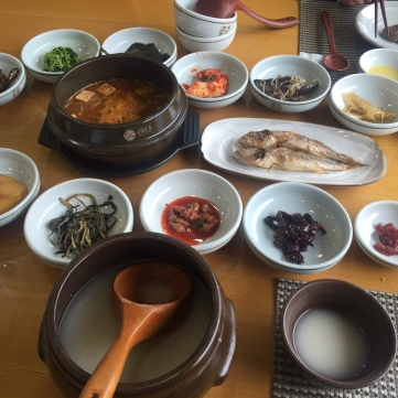 Main course - soup, grilled fish and banchan
