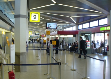 Each gate with own departure security and arrival exit